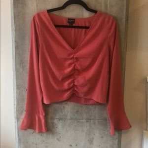 Pink bell sleeve crop top blouse